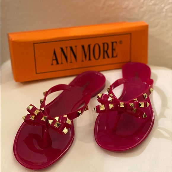 Ann Moore Shoes Ann Moore Fuchsia Studded Jelly Bow Sandals Poshmark